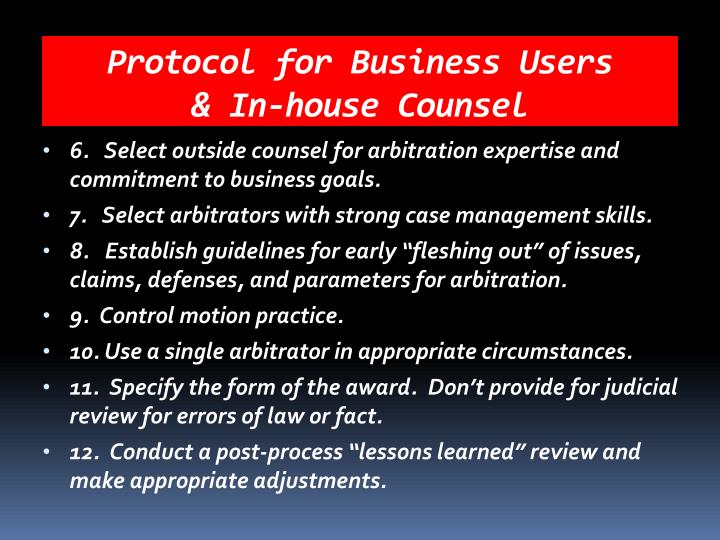 Protocol for Business Users