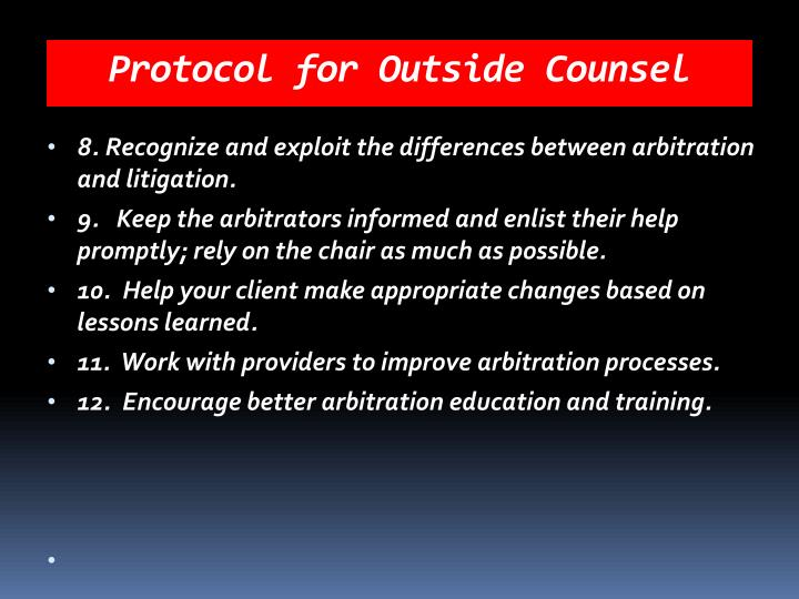 Protocol for Outside Counsel