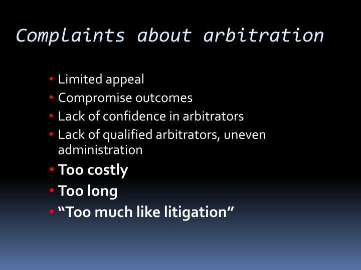 Complaints about arbitration