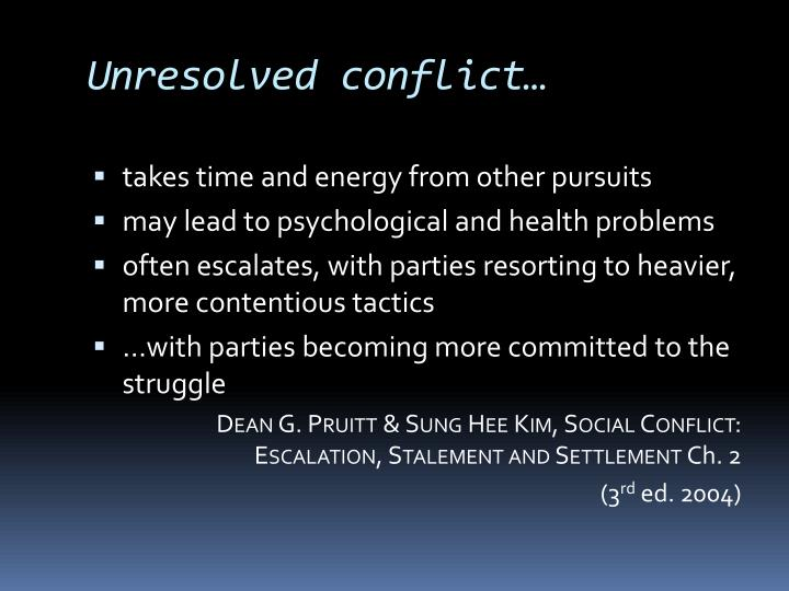 Unresolved conflict…