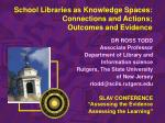 school libraries as knowledge spaces connections and actions outcomes and evidence
