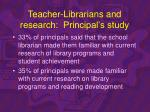 teacher librarians and research principal s study