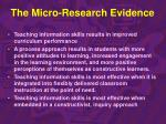 the micro research evidence