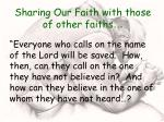 sharing our faith with those of other faiths15