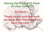 sharing our faith with those of other faiths31