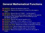 general mathematical functions