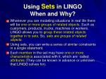 using sets in lingo when and why