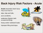 back injury risk factors acute