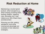 risk reduction at home