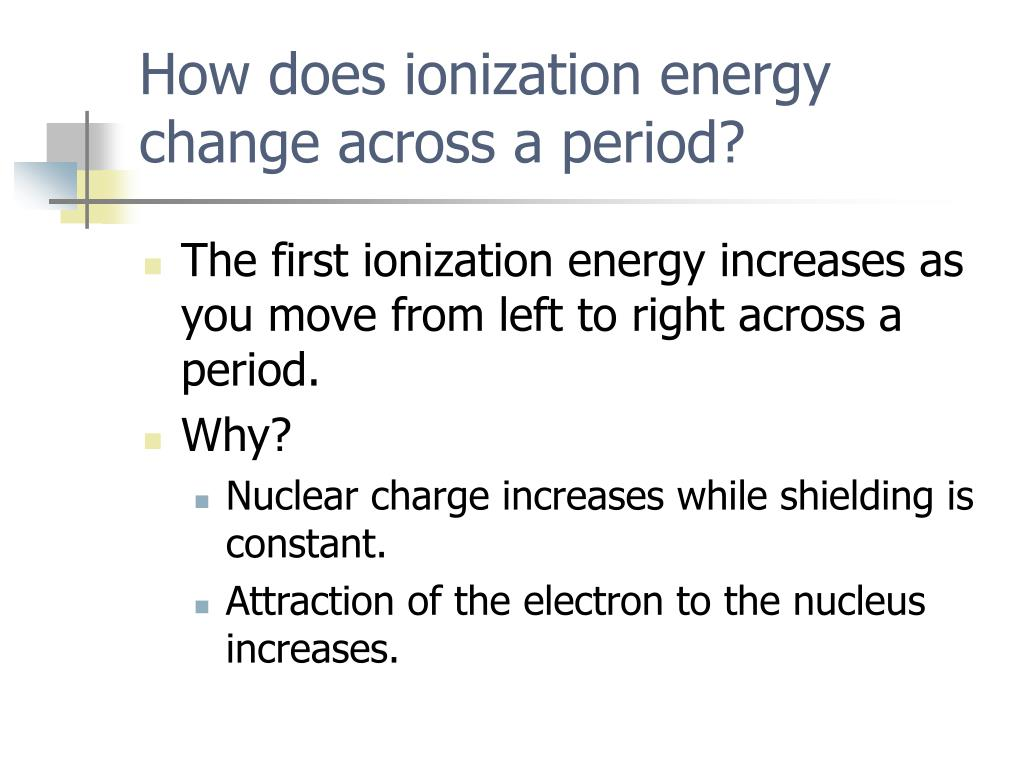 How does ionization energy change across a period?