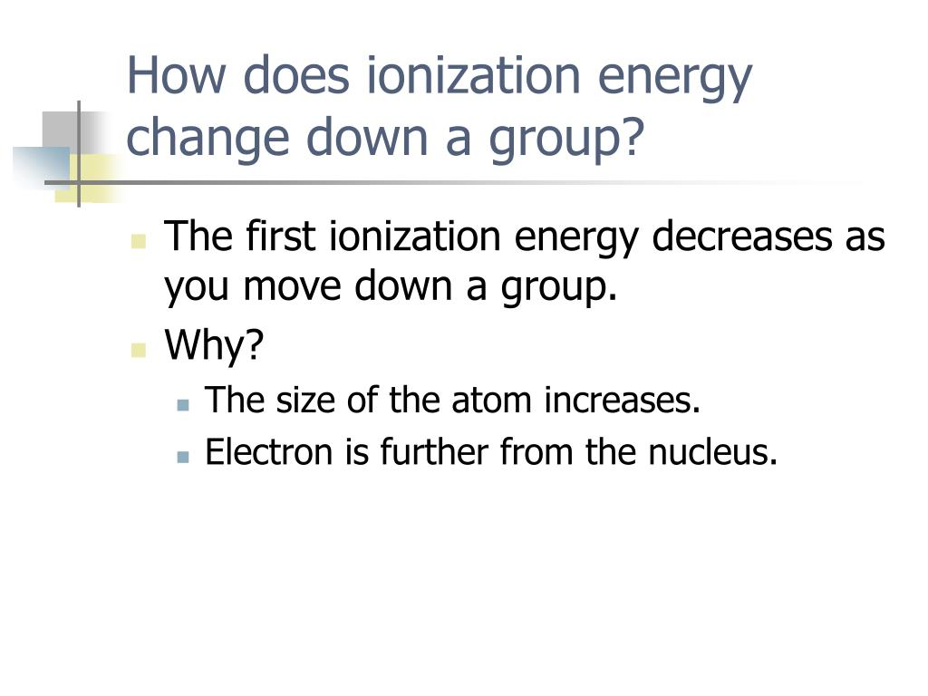 How does ionization energy change down a group?