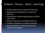 knowles theory adult learning