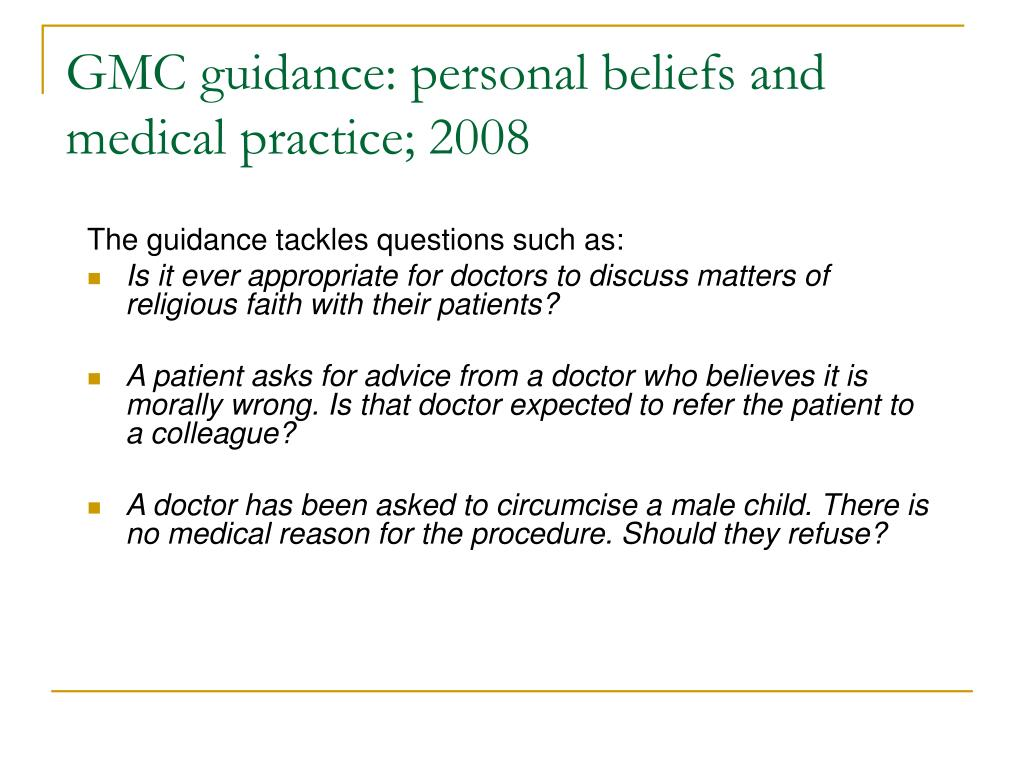 Ppt Personal Beliefs And Medical Practice Powerpoint