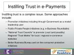 instilling trust in e payments