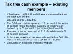 tax free cash example existing members