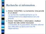 recherche et information