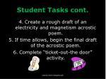 student tasks cont