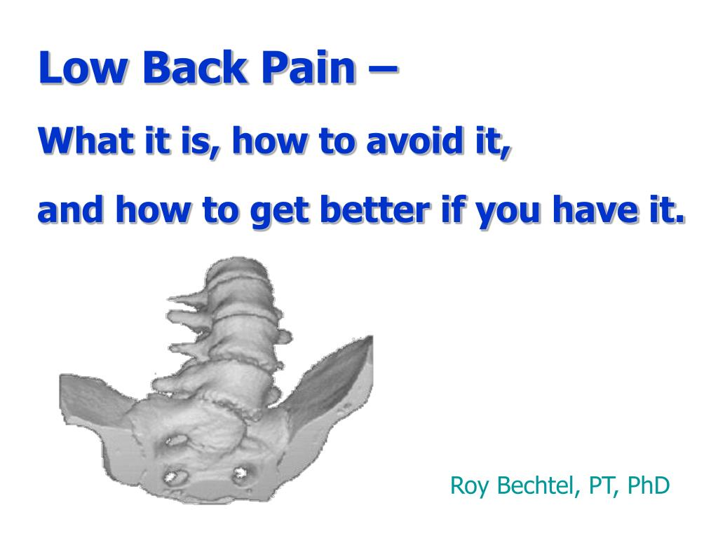 low back pain what it is how to avoid it and how to get better if you have it l.