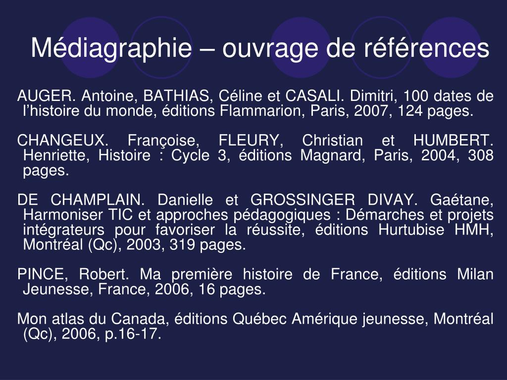 Médiagraphie – ouvrage de références