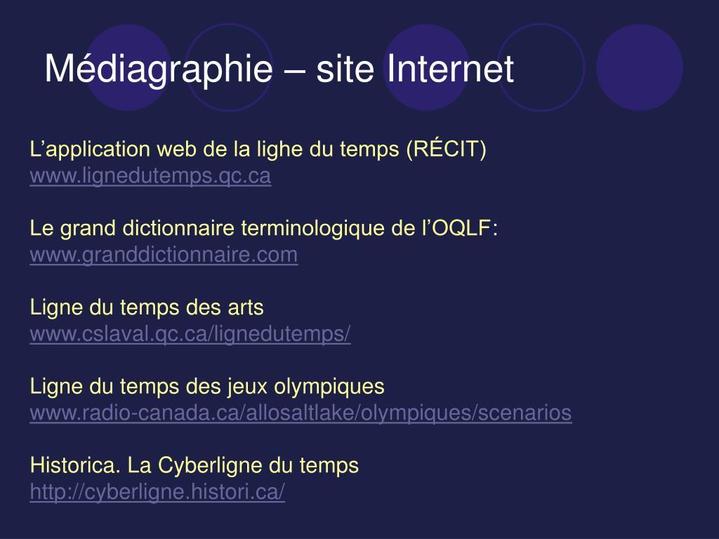 Médiagraphie – site Internet
