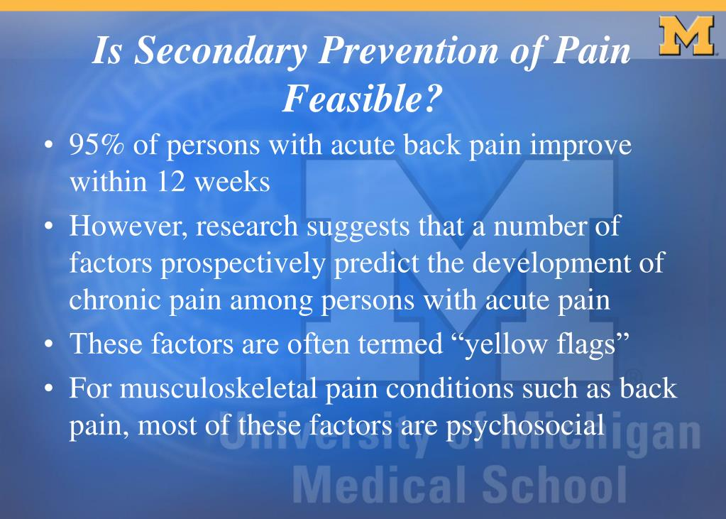 95% of persons with acute back pain improve within 12 weeks