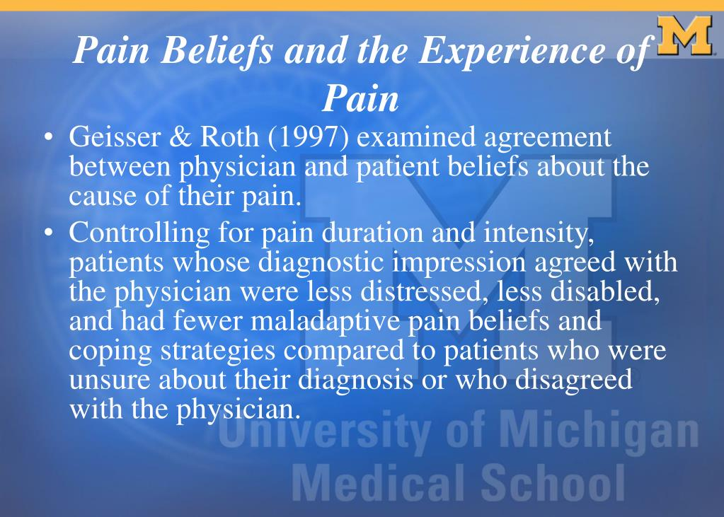 Geisser & Roth (1997) examined agreement between physician and patient beliefs about the cause of their pain.
