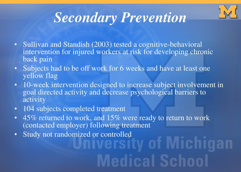Sullivan and Standish (2003) tested a cognitive-behavioral intervention for injured workers at risk for developing chronic back pain
