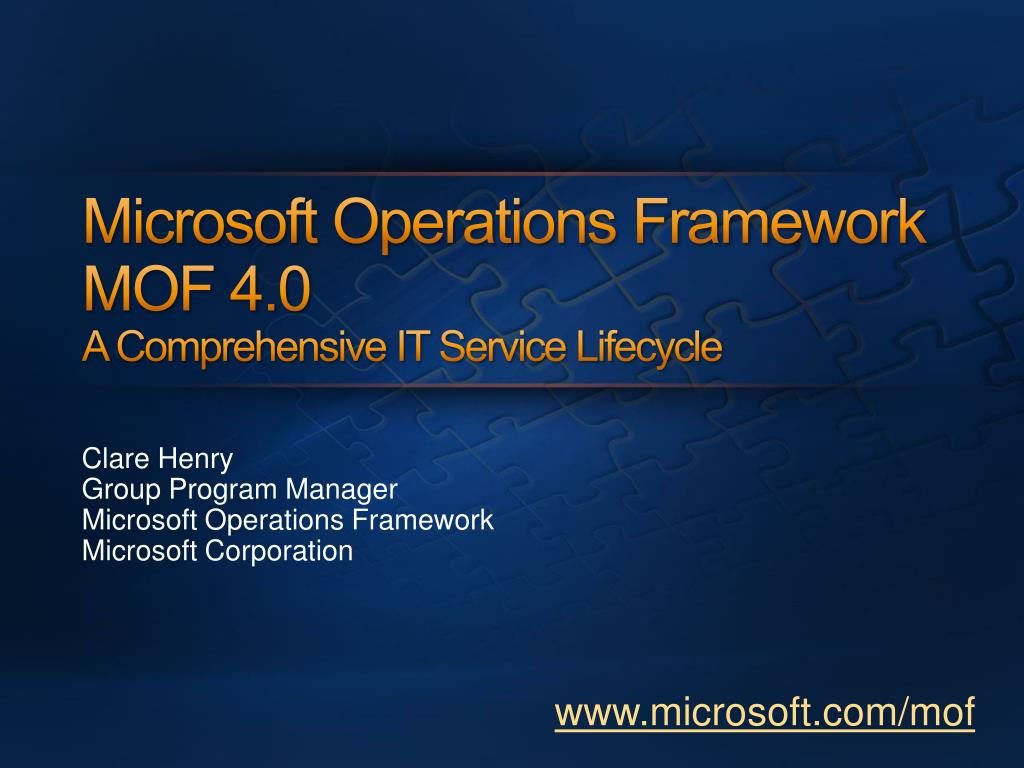 microsoft operations framework mof 4 0 a comprehensive it service lifecycle l.