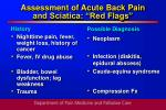 assessment of acute back pain and sciatica red flags