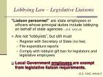 lobbying law legislative liaisons
