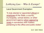 lobbying law who is exempt1