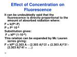 effect of concentration on fluorescence