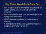 key points about acute back pain