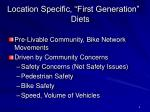 location specific first generation diets