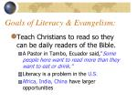 goals of literacy evangelism