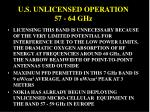 u s unlicensed operation 57 64 ghz
