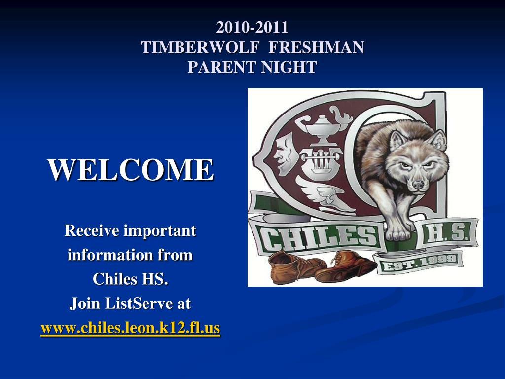2010 2011 timberwolf freshman parent night l.