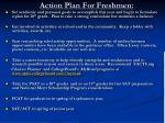action plan for freshmen