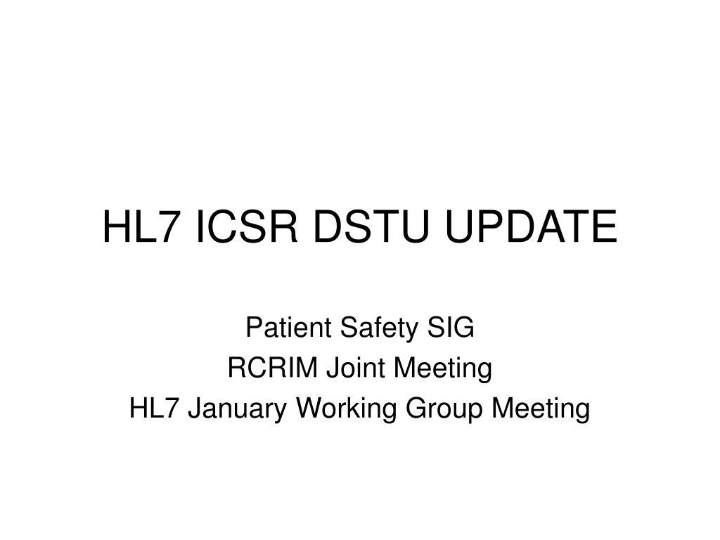 hl7 icsr dstu update l.