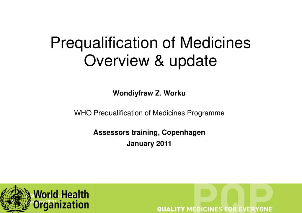 prequalification of medicines overview update l.