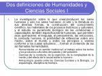 dos definiciones de humanidades y ciencias sociales i