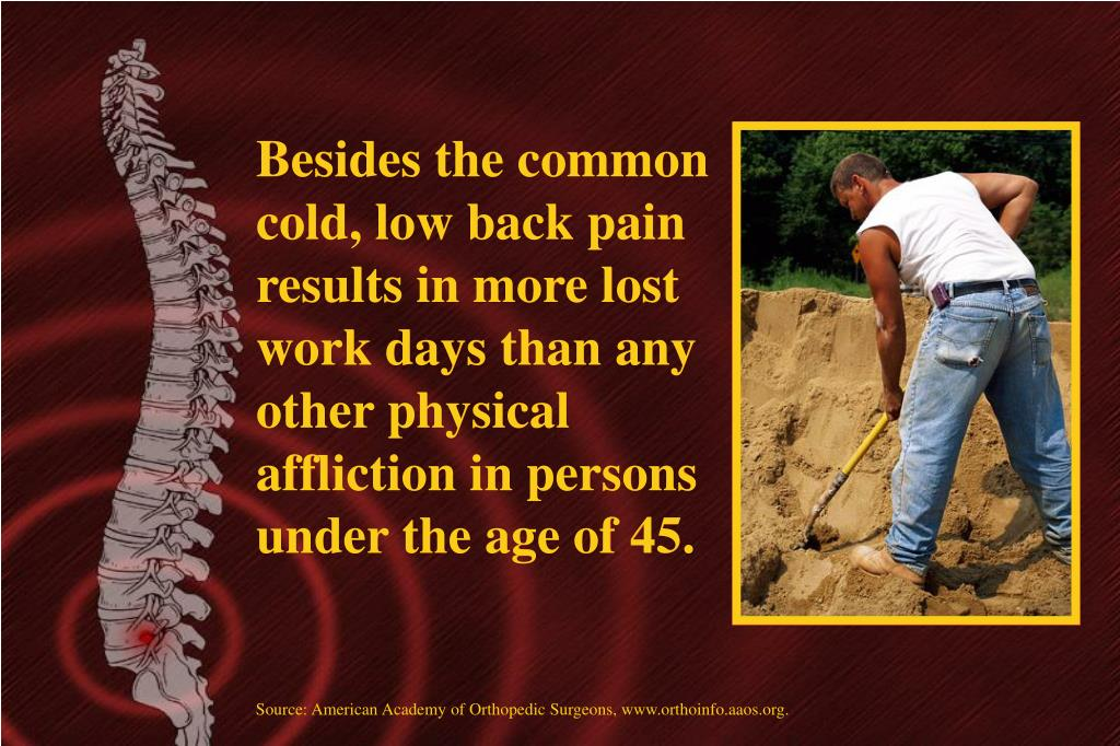 Besides the common cold, low back pain results in more lost work days than any other physical affliction in persons under the age of 45.