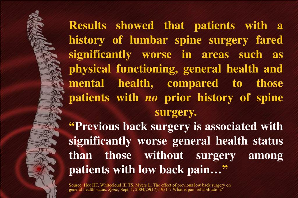 Results showed that patients with a history of lumbar spine surgery fared significantly worse in areas such as physical functioning, general health and mental health, compared to those patients with