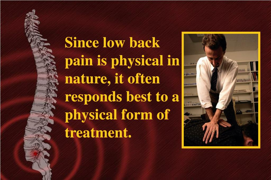 Since low back pain is physical in nature, it often responds best to a physical form of treatment.