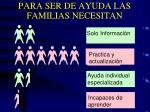 para ser de ayuda las familias necesitan