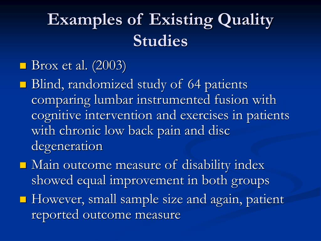 Examples of Existing Quality Studies
