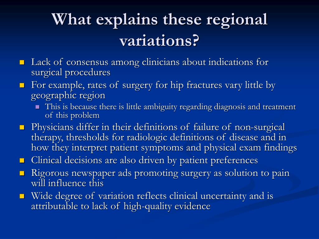What explains these regional variations?