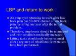 lbp and return to work