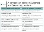 a comparison between autocratic and democratic leaders