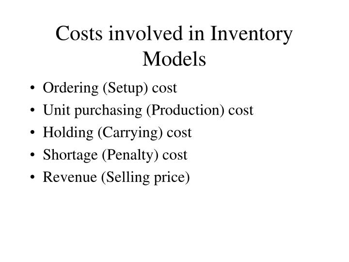 costs involved in inventory models n.